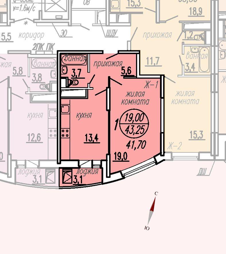 ул. Дирижабельная, д. 1, секция4, квартира 43,25 м2