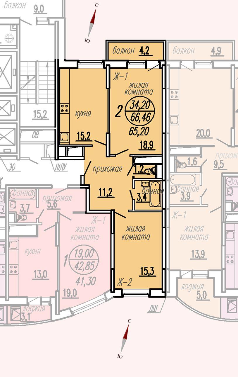 ул. Дирижабельная, д. 1, секция4, квартира 66,46 м2