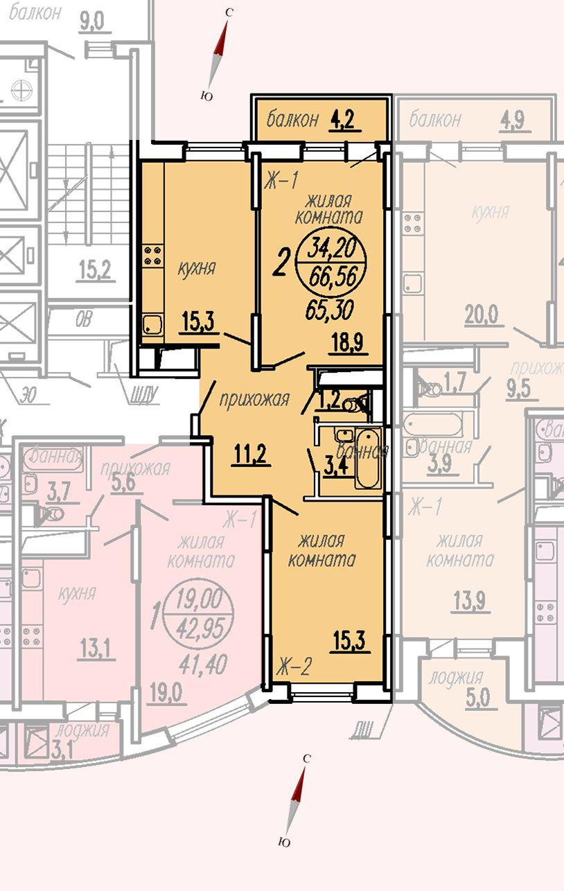 ул. Дирижабельная, д. 1, секция4, квартира 66,56 м2, вариант 2