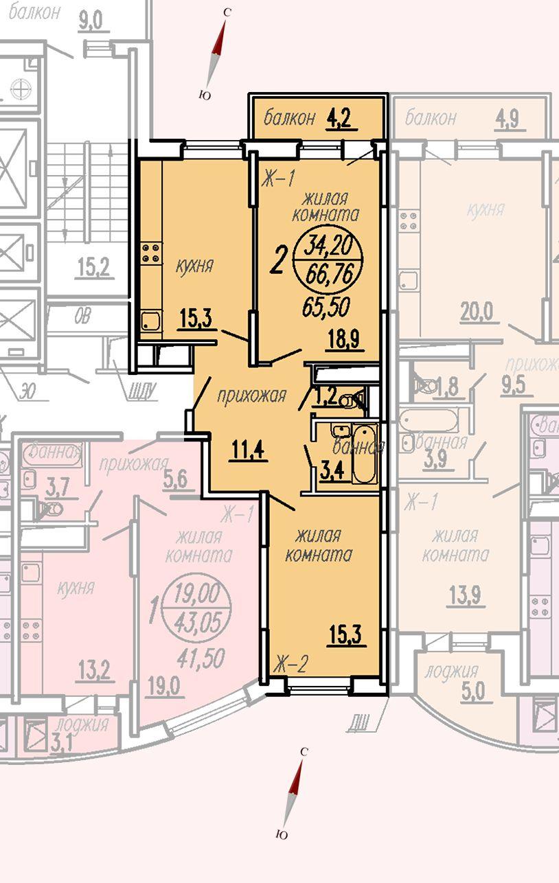 ул. Дирижабельная, д. 1, секция4, квартира 66,76 м2
