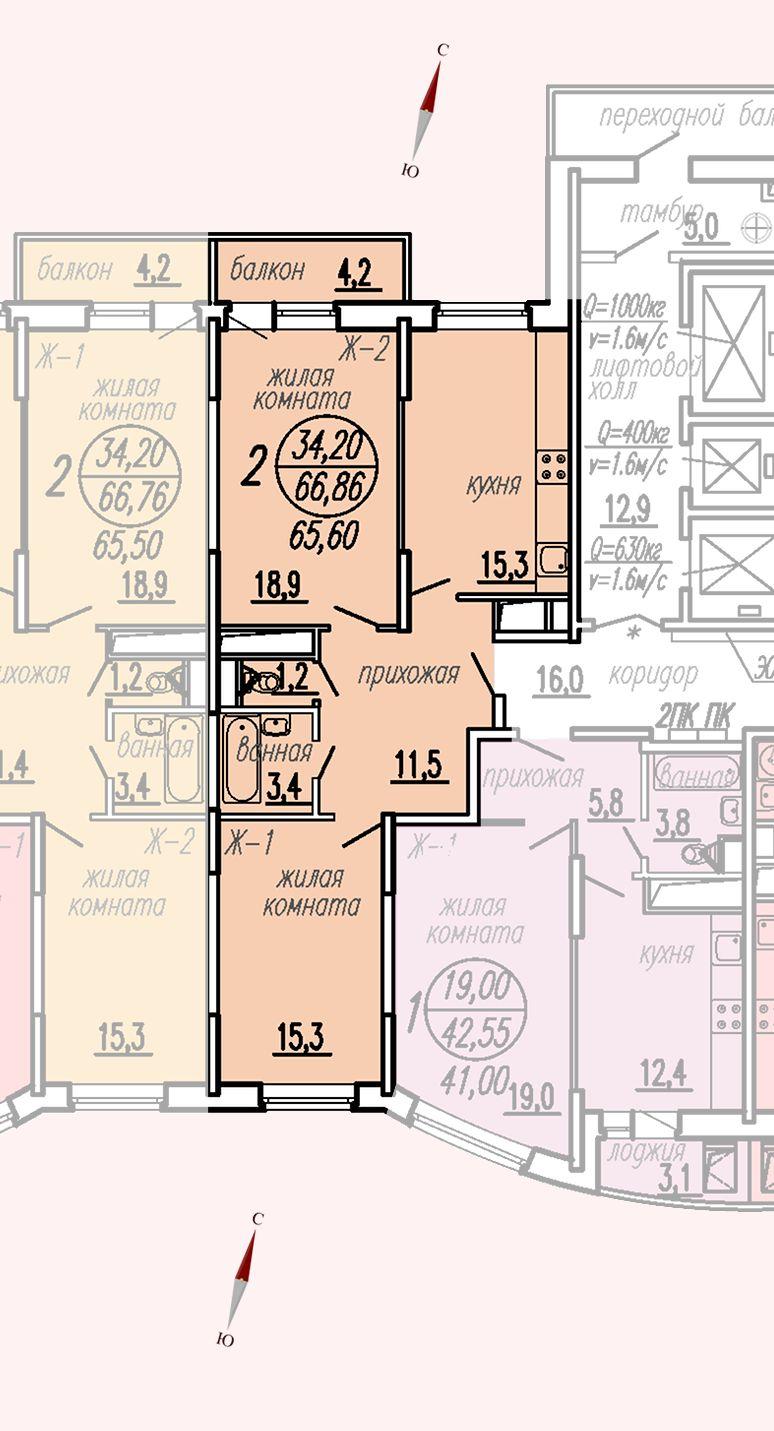 ул. Дирижабельная, д. 1, секция4, квартира 66,86 м2