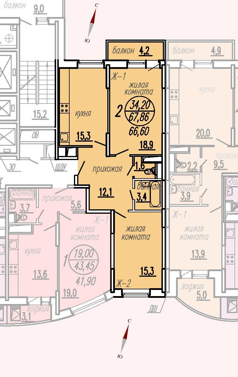 ул. Дирижабельная, д. 1, секция4, квартира 67,86 м2