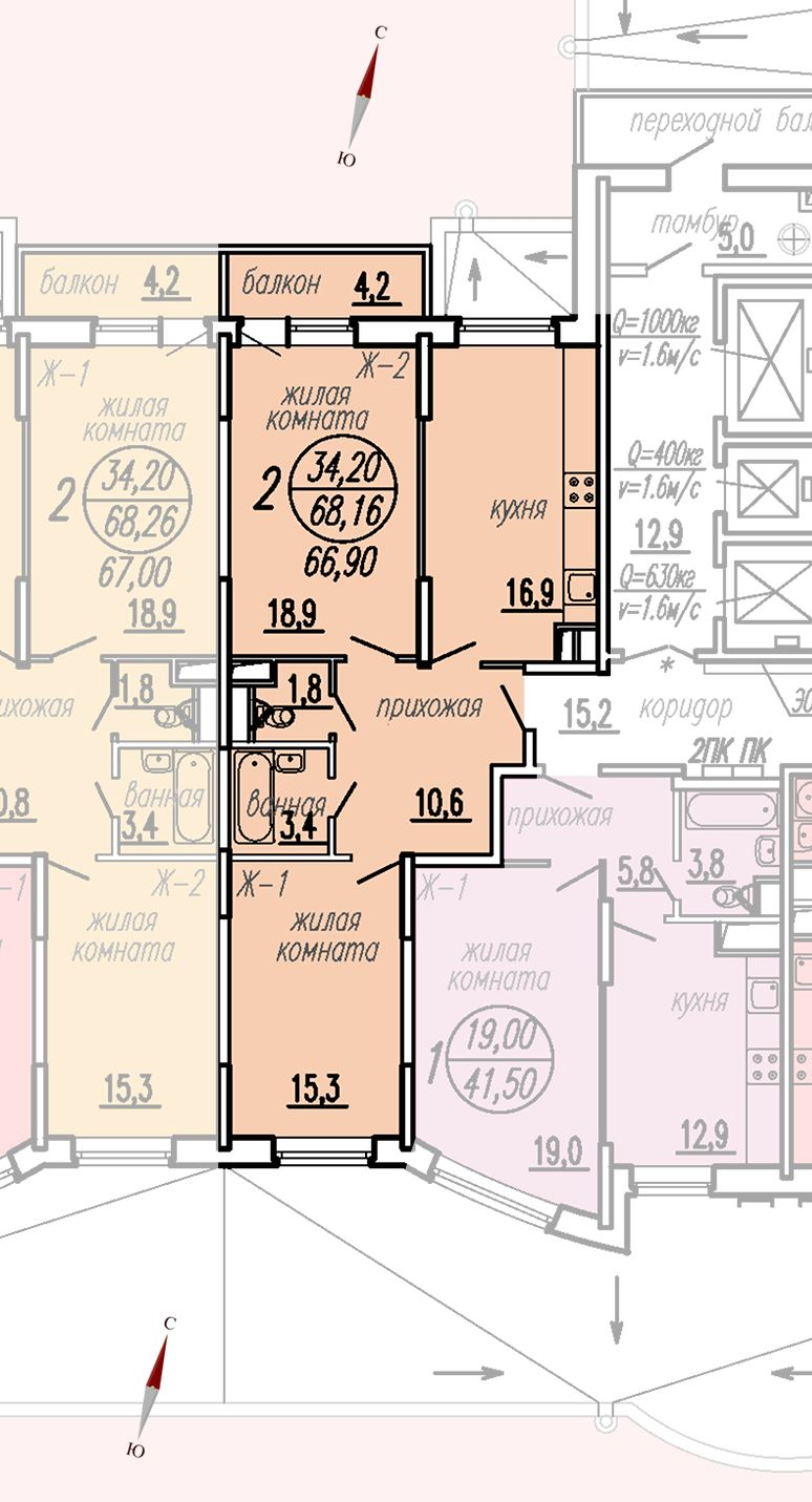 ул. Дирижабельная, д. 1, секция4, квартира 68,16 м2
