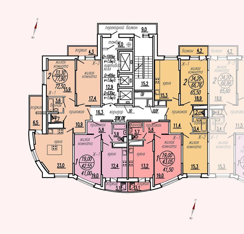ул. Дирижабельная, д. 1, секция5, этаж/этажи 14-17