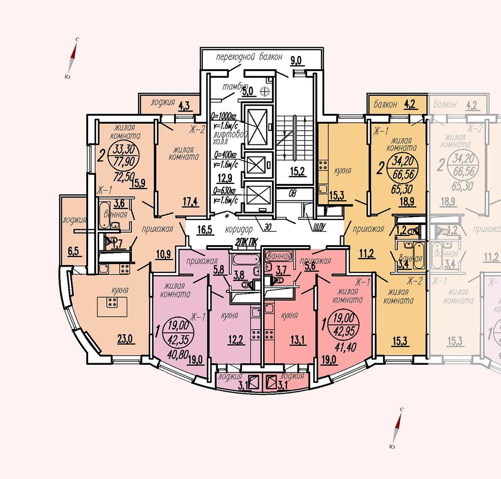 ул. Дирижабельная, д. 1, секция5, этаж/этажи 18-21
