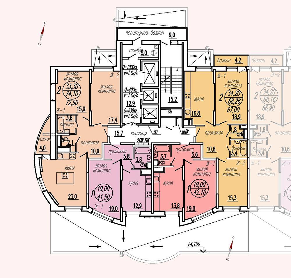 ул. Дирижабельная, д. 1, секция5, этаж/этажи 2