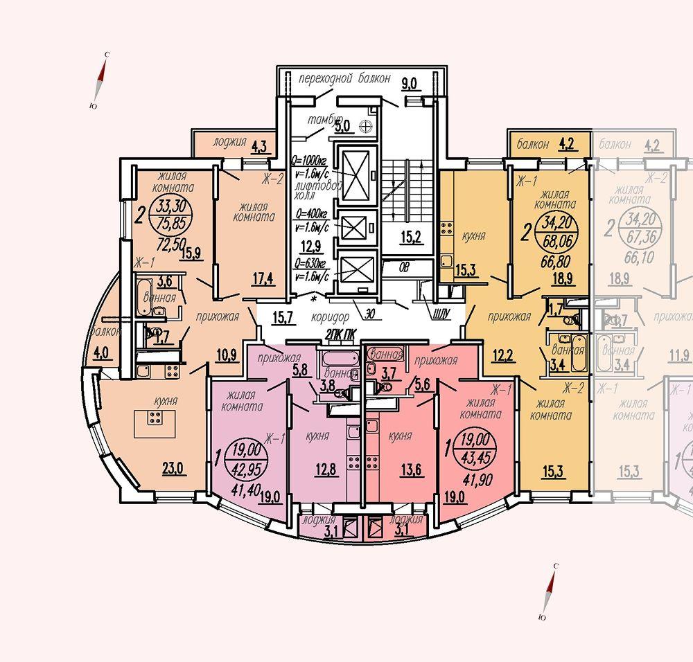 ул. Дирижабельная, д. 1, секция5, этаж/этажи 3-5
