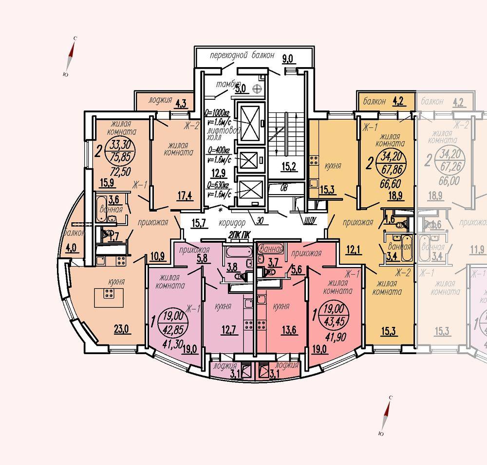 ул. Дирижабельная, д. 1, секция5, этаж/этажи 6-9