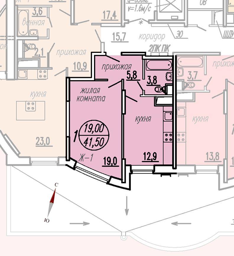 ул. Дирижабельная, д. 1, секция5, квартира 41,50 м2