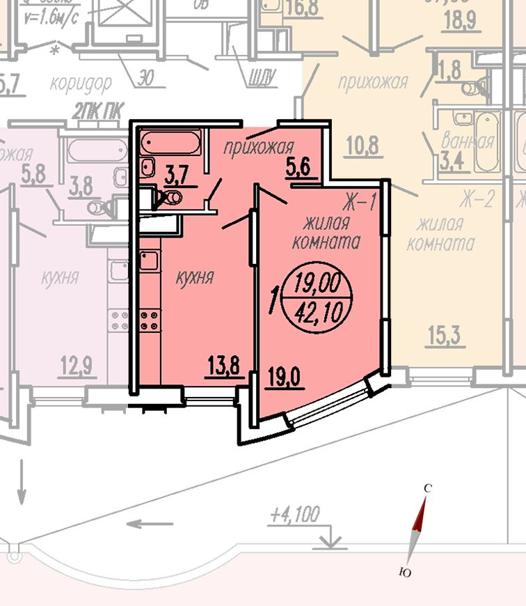 ул. Дирижабельная, д. 1, секция5, квартира 42,10 м2