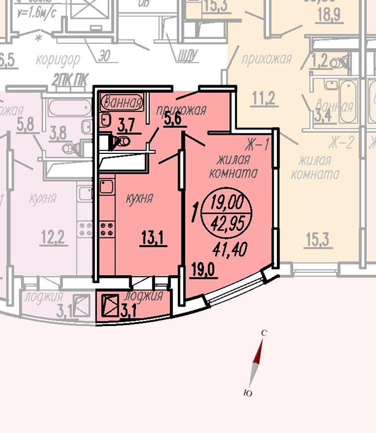 ул. Дирижабельная, д. 1, секция5, квартира 42,95 м2, вариант 2