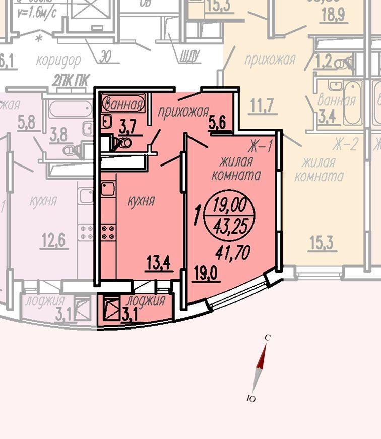 ул. Дирижабельная, д. 1, секция5, квартира 43,25 м2
