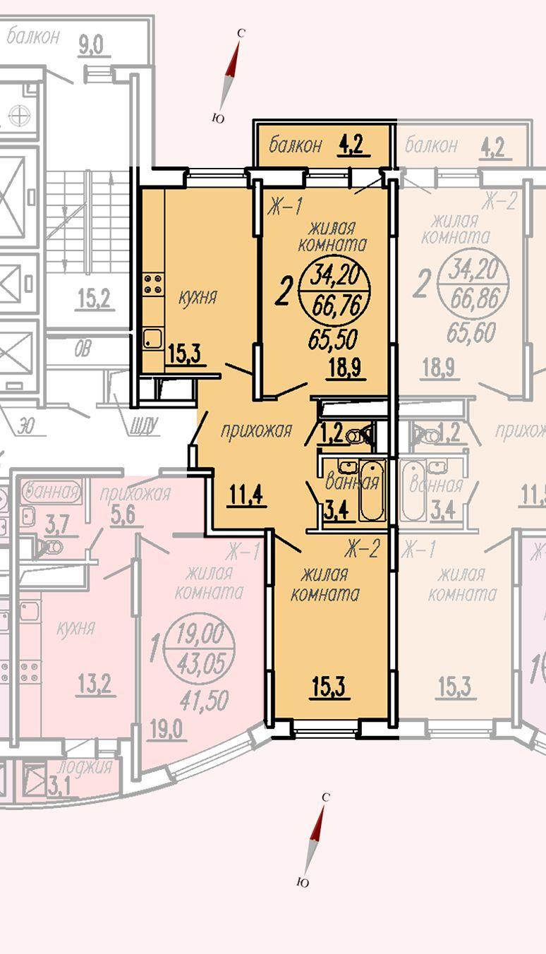 ул. Дирижабельная, д. 1, секция5, квартира 66,76 м2