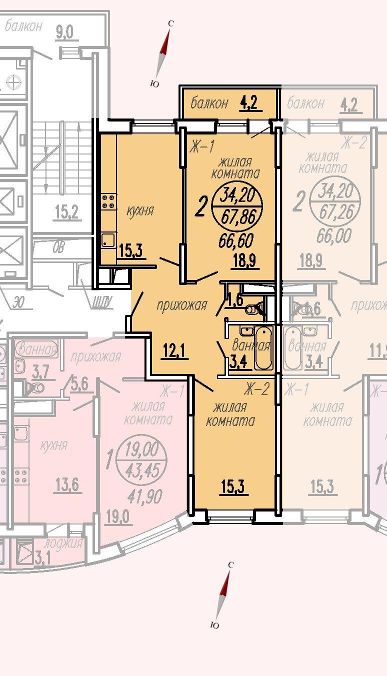 ул. Дирижабельная, д. 1, секция5, квартира 67,86 м2