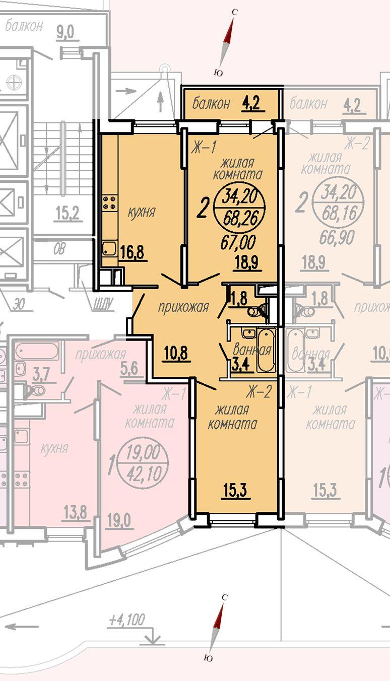 ул. Дирижабельная, д. 1, секция5, квартира 68,26 м2