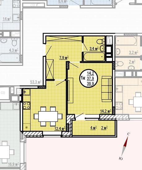 ЖК «Московские водники», корпус 24, секция 1, квартира 39,9 м2