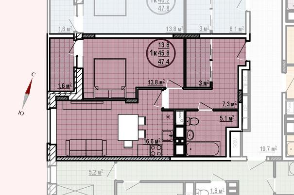 ЖК «Московские водники», корпус 24, секция 1, квартира 47,4 м2