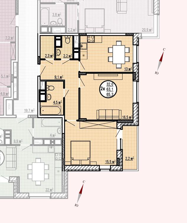 ЖК «Московские водники», корпус 24, секция 1, квартира 65,3 м2