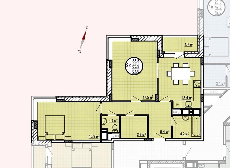 ЖК «Московские водники», корпус 24, секция 1, квартира 67,6 м2