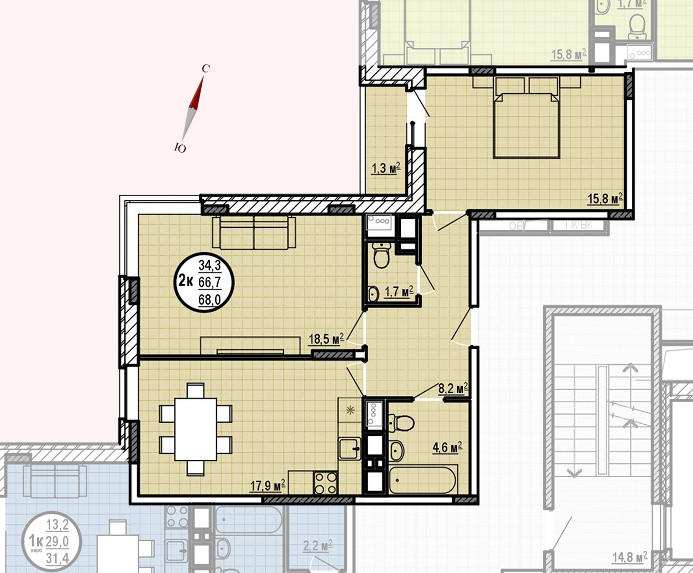 ЖК «Московские водники», корпус 24, секция 1, квартира 68,0 м2