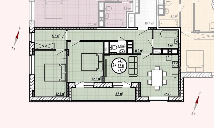 ЖК «Московские водники», корпус 24, секция 1, квартира 71,1 м2