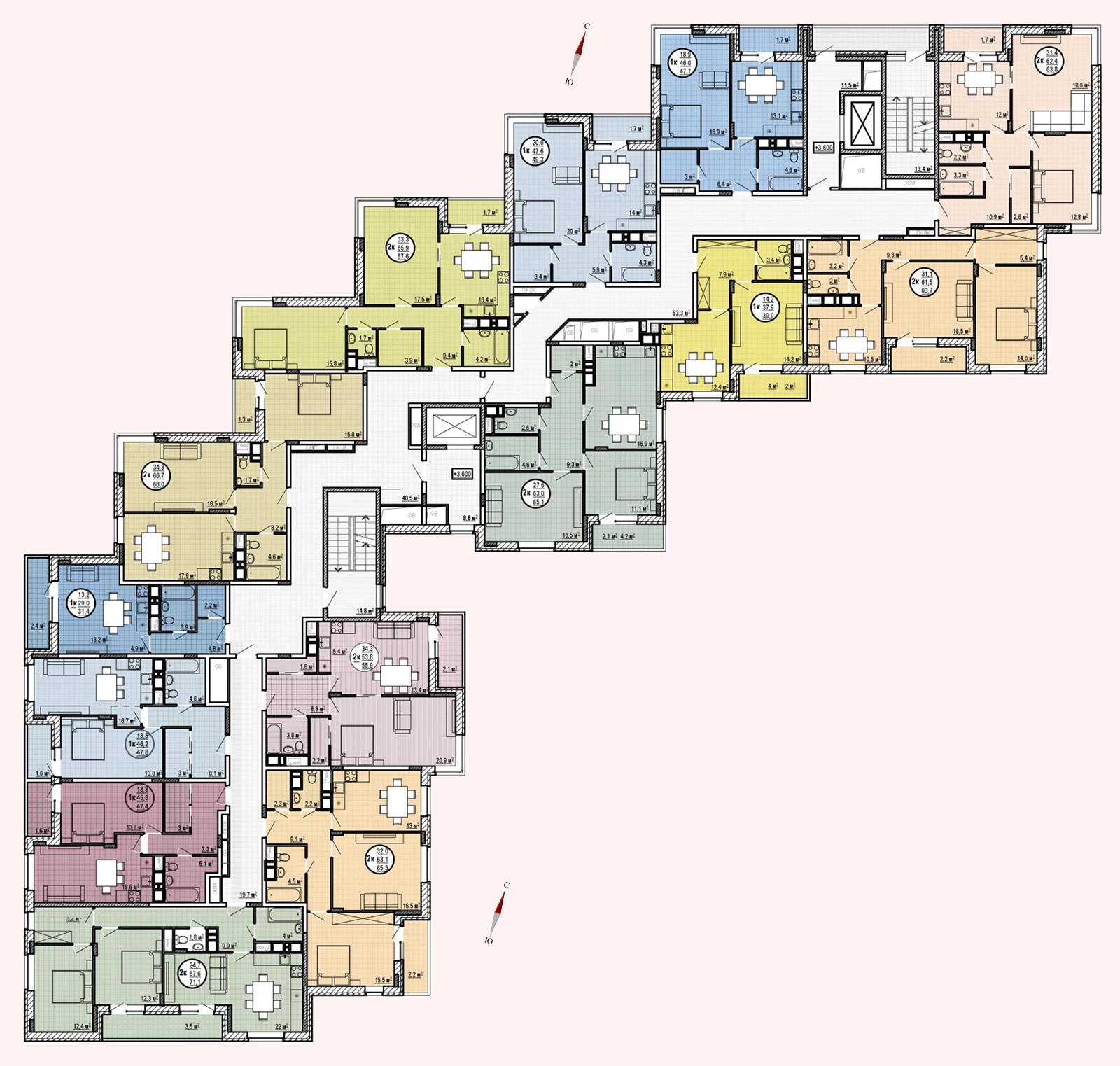 ЖК «Московские водники», корпус 24, секция 1, этаж 2